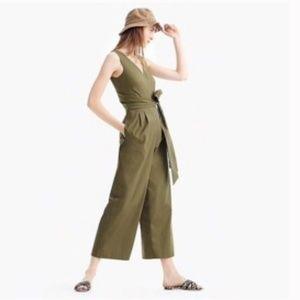 J Crew  sz. 10 Olive Wrap-tie jumpsuit